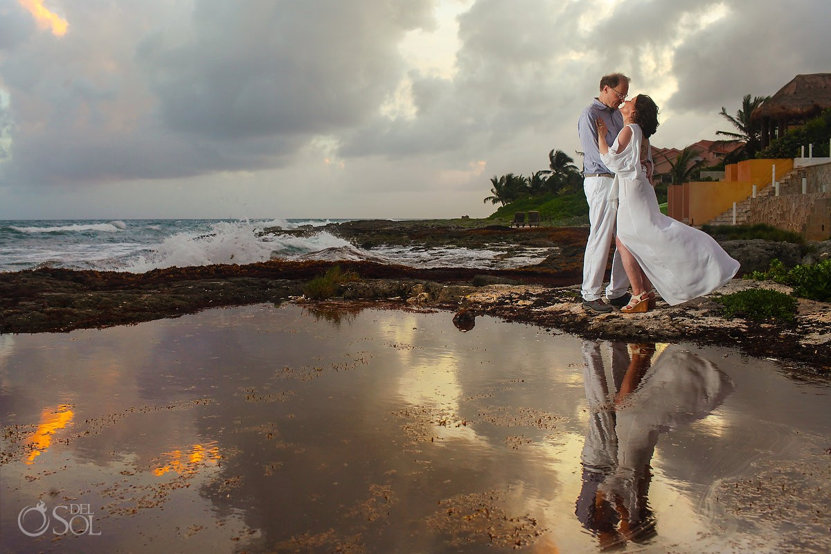 sunset wedding portrait reflection, Casa La Roca, Puerto Aventuras,