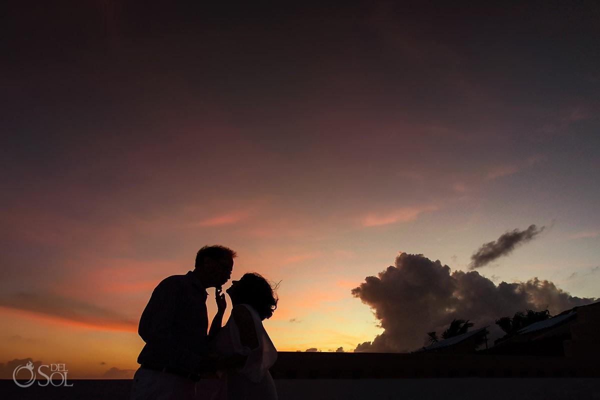 sunset wedding portrait silhouette, Casa La Roca, Puerto Aventuras,