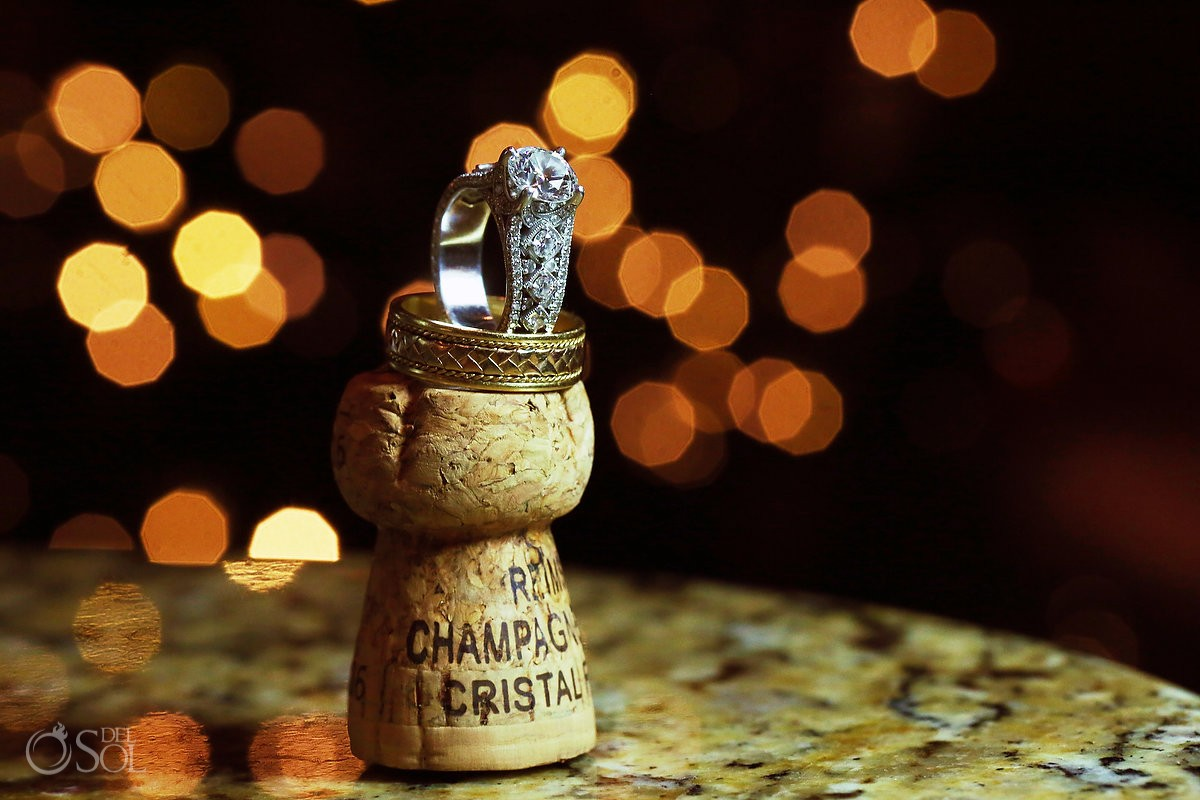 Cristal rose champage cork wedding ring macro photography, Casa La Roca, Puerto Aventuras,