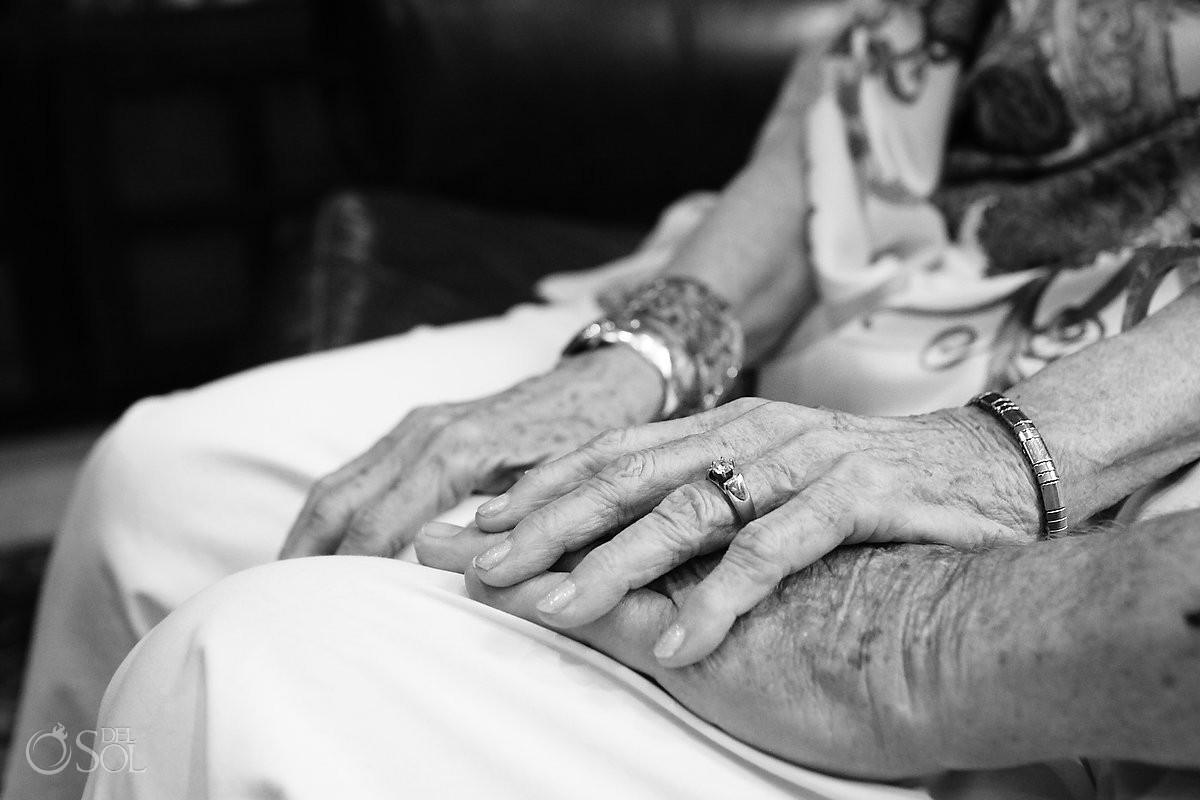 Grandma grandpa hands detail black white, Casa la Roca Family Portraits, Puerto Aventuras