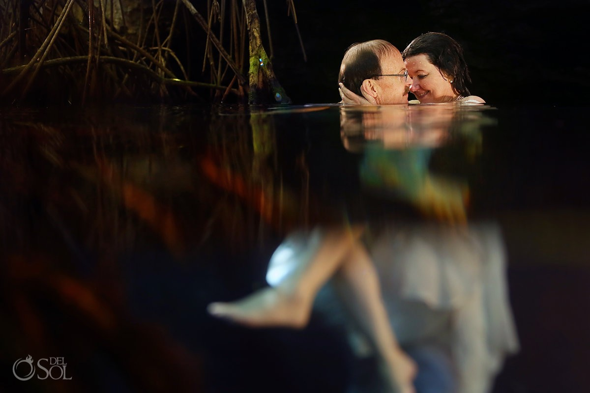 split shot half half, artistic wedding portrait, Cenote Trash the Dress, Riviera Maya, Mexico