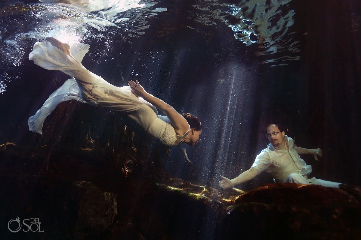 underwater light rays bride groom touch, Cenote Trash the Dress, Riviera Maya, Mexico