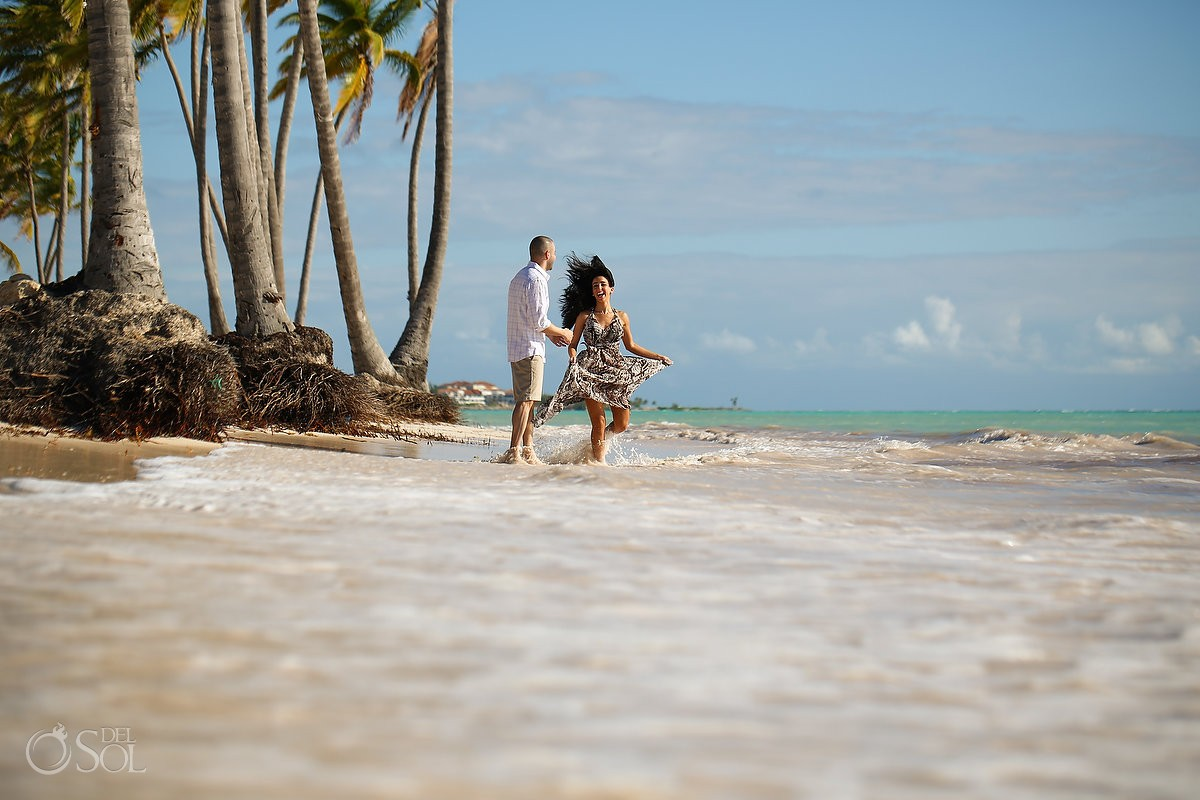 couple dancing ocean, Carribean Beach portraits, blue sky palm trees, Sanctuary Cap Cana Resort, Dominican Republic