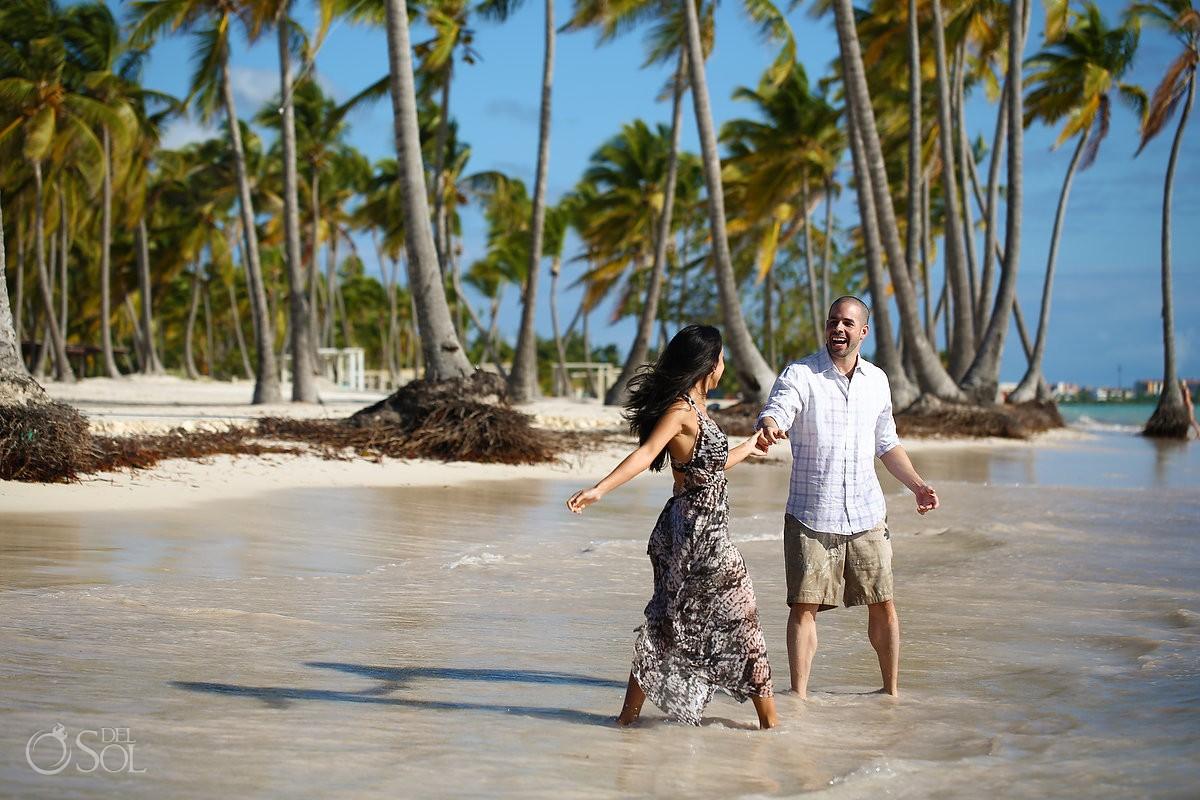couple dancing ocean, Carribean Beach portraits, blue sky palm trees, Sanctuary Cap Cana Resort, Dominican Republic