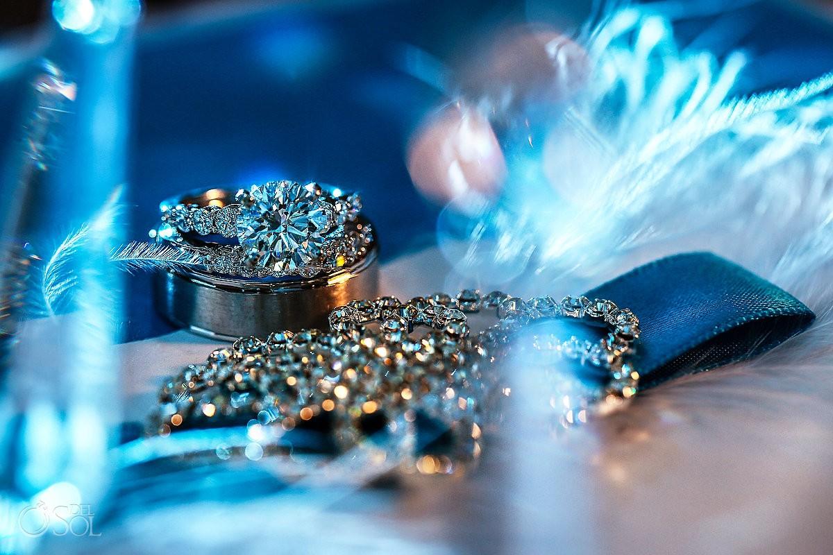 Blue light diamond engagement wedding ring macro details photograph
