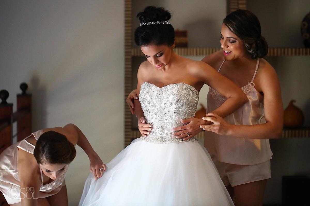 Bride getting ready Dennis Basso wedding dress, Sanctuary Cap Cana Resort, Dominican Republic