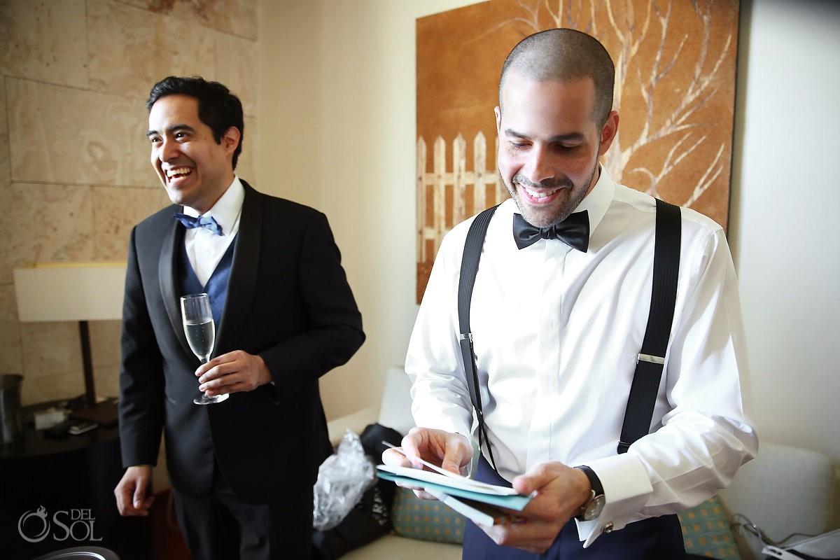 groom getting ready surprise gift, Wedding Sanctuary Cap Cana Resort, Punta Cana, Dominican Republic