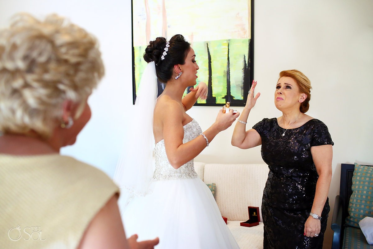 bride getting ready laughing mother family love, Wedding Sanctuary Cap Cana Resort, Punta Cana, Dominican Republic