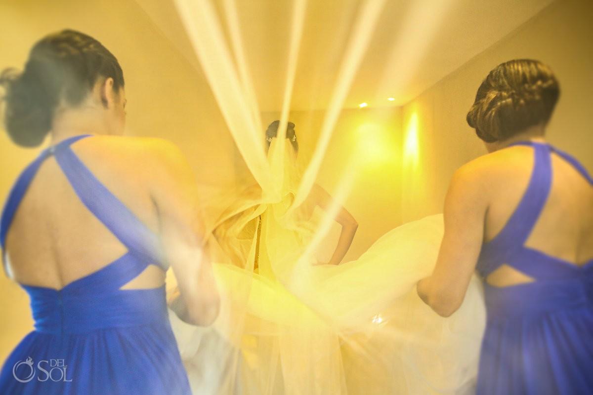 creative wedding portrait bride veil yellow walking bridesmaids