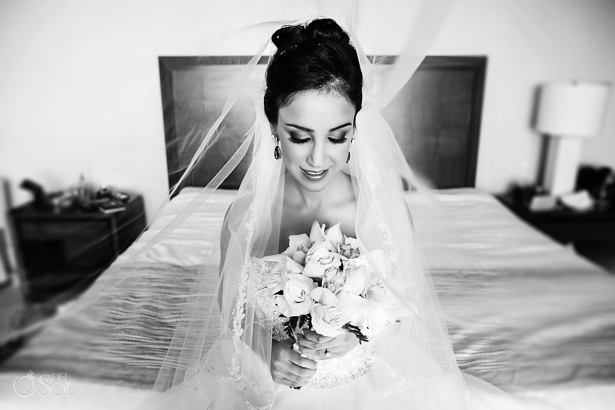 black and white wedding bridal portrait, Sanctuary Cap Cana Resort, Punta Cana, Dominican Republic