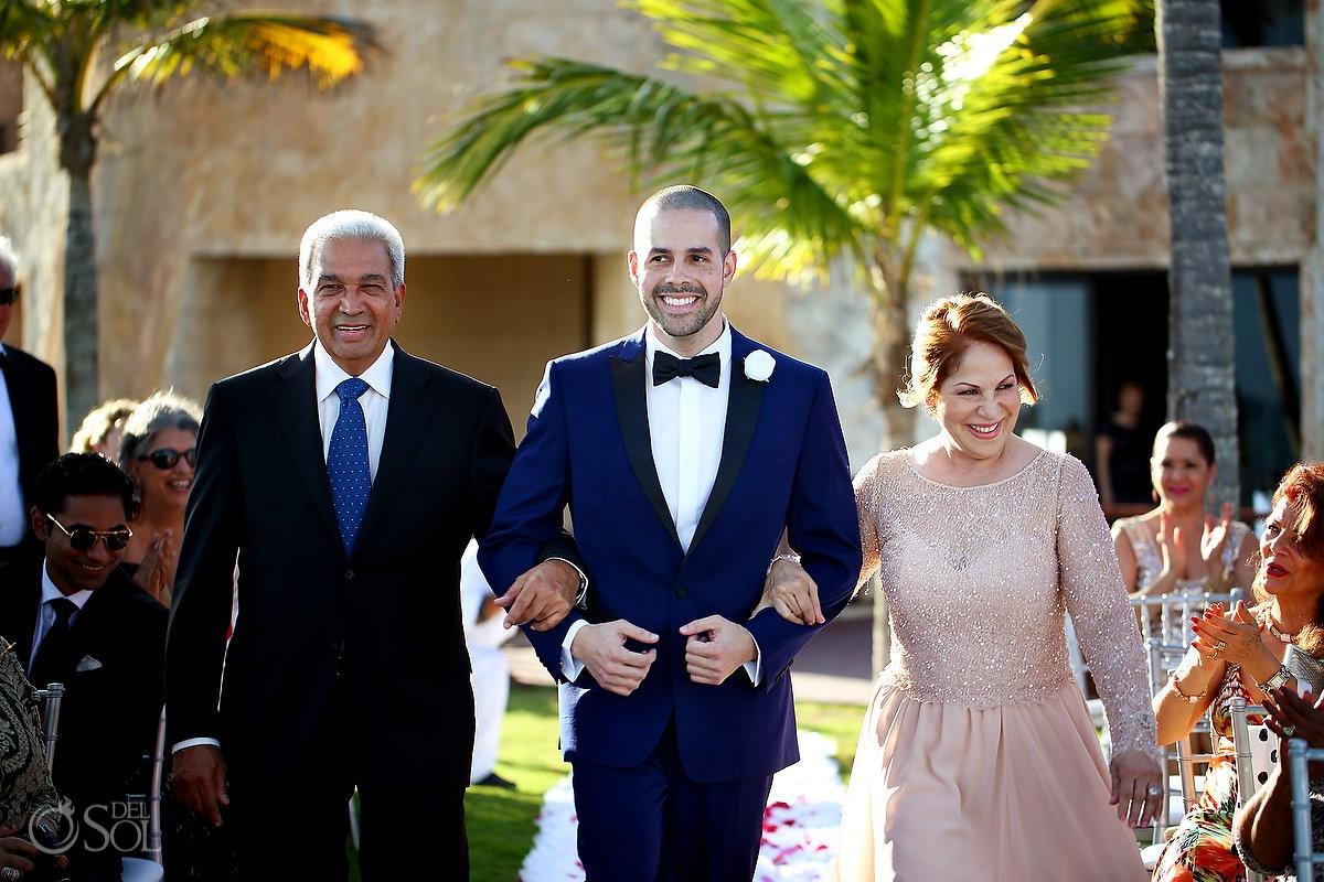 groom walking parents processional enters ceremony, Wedding Sanctuary Cap Cana Resort, Punta Cana, Dominican Republic
