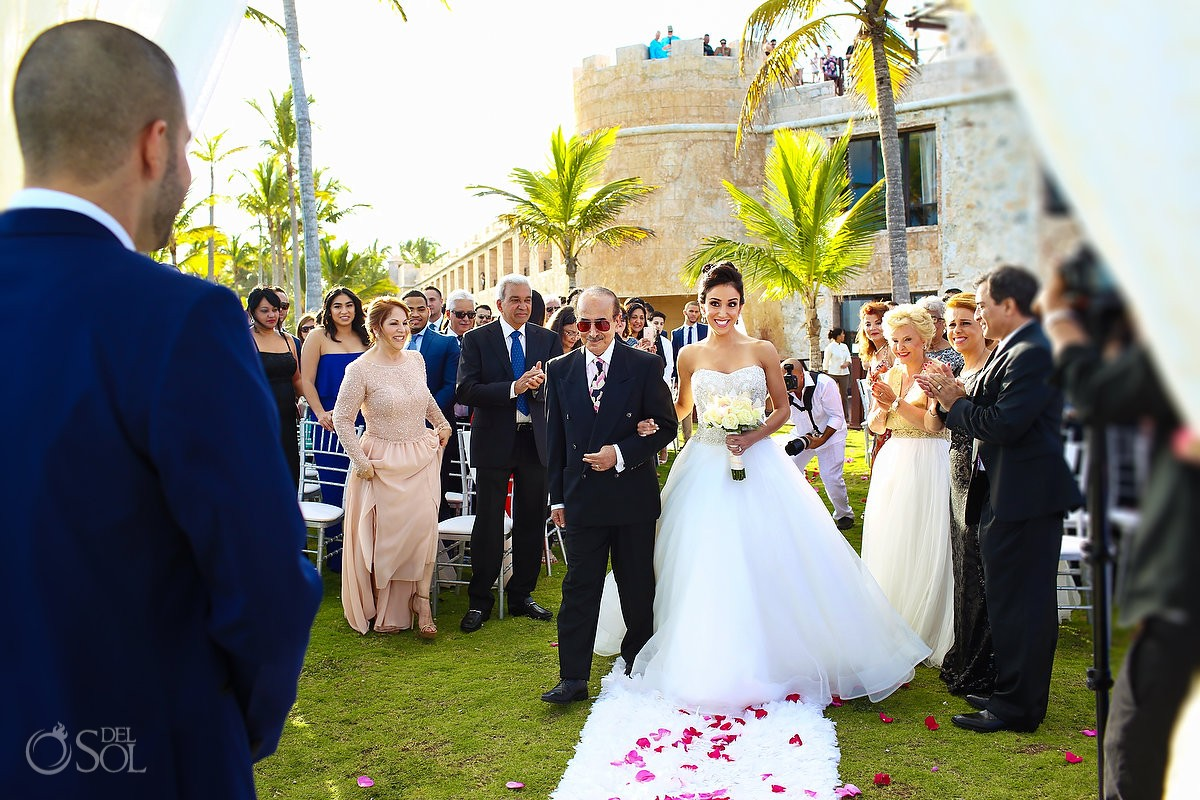 Bride entrance garden wedding ceremony, Sanctuary Cap Cana Resort, Dominican Republic, Dennis Basso dress