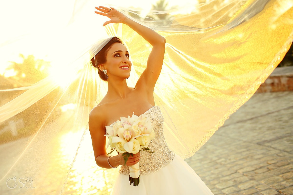 Beautiful bride wedding portrait golden hour sunset, veil Dennis Basso dress, Sanctuary Cap Cana Resort, Punta Cana, Dominican Republic