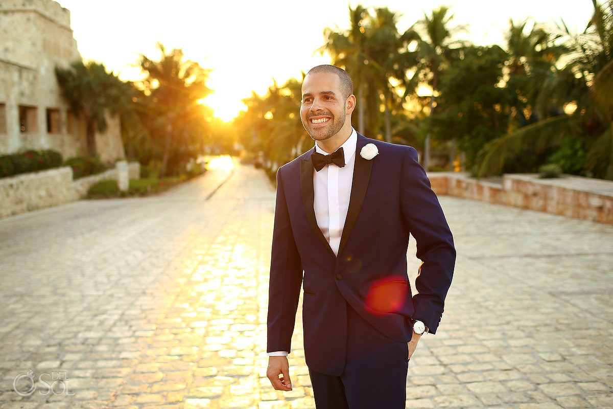 Groom wearing Calvin Klein golden hour sunset candid portrait, Wedding Sanctuary Cap Cana Resort, Punta Cana, Dominican Republic