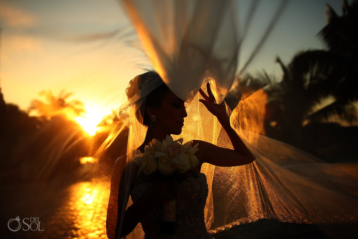 beautiful light, golden hour sunset bridal portrait silhouette veil, Wedding Sanctuary Cap Cana Resort, Dominican Republic