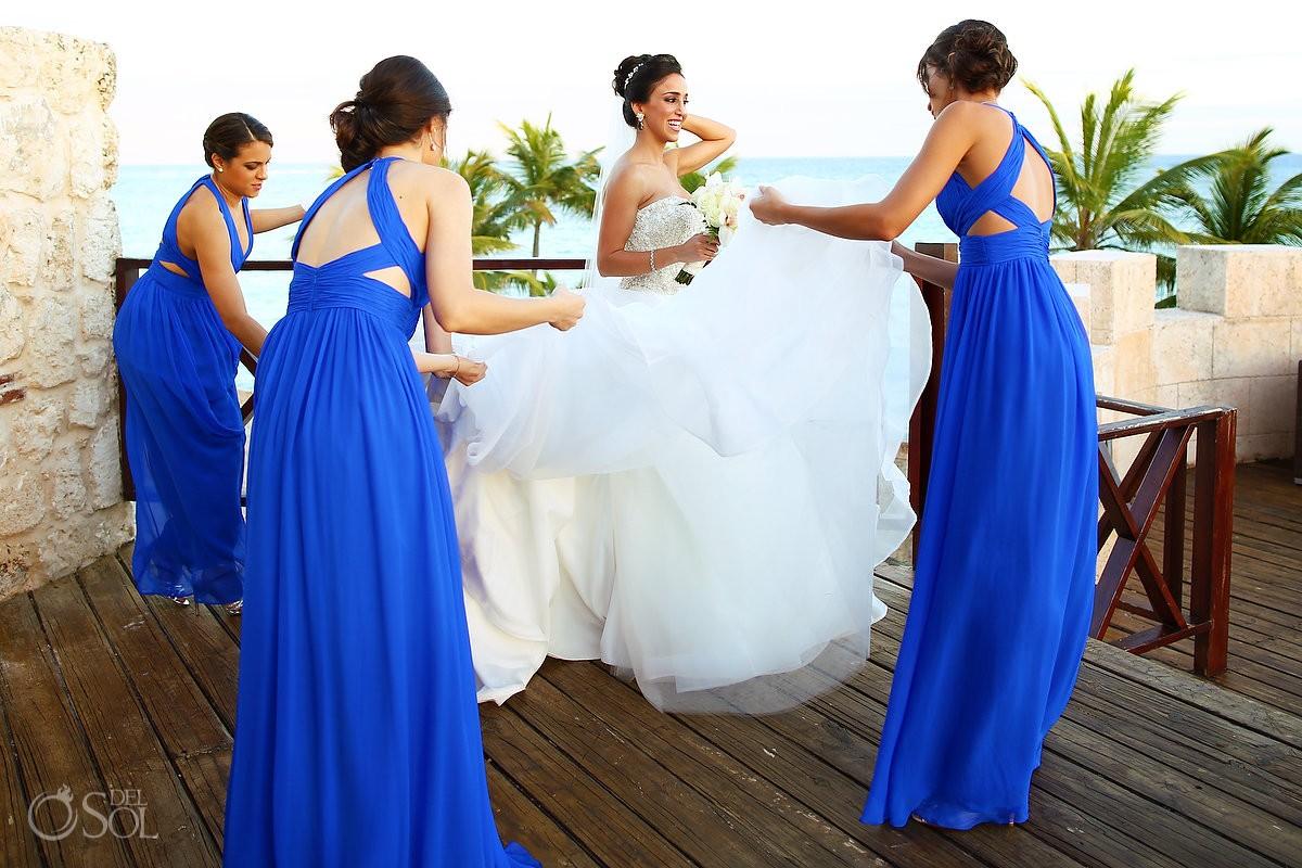bride Dennis Basso dress, bridesmaids blue dresses, wedding Sanctuary Cap Cana Resort, Punta Cana, Dominican Republic