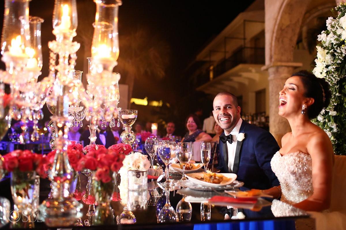 wedding reception bride groom laughing, Sanctuary Cap Cana Resort Dominican Republic