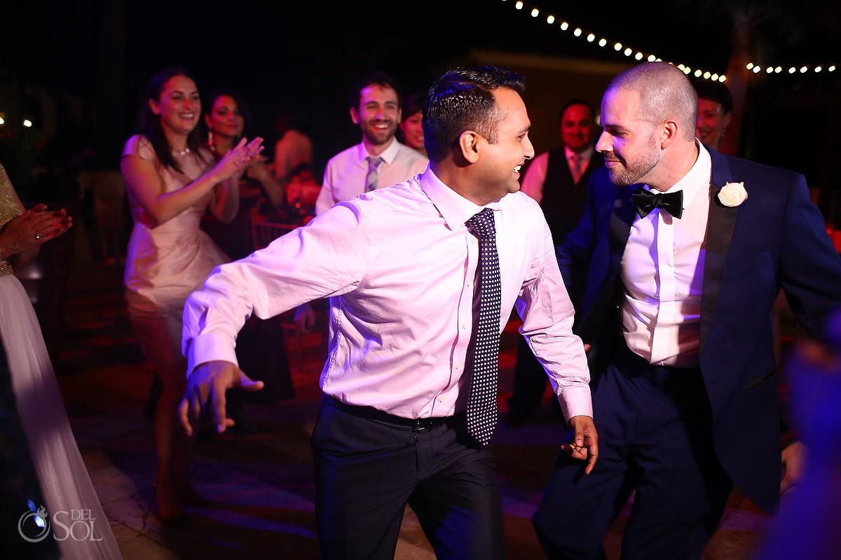 groom guests dancing, wedding reception, Sanctuary Cap Cana Resort, Dominican Republic