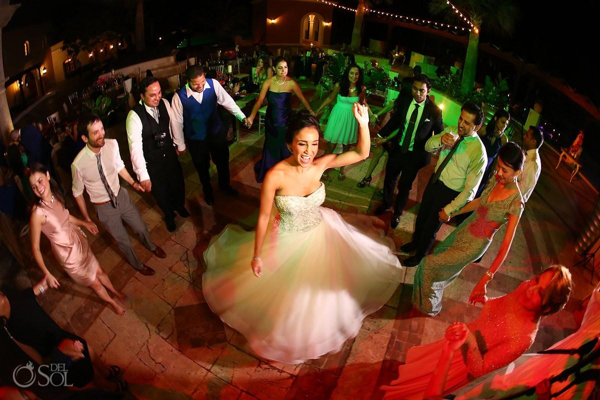 wide angle, bride wearing Dennis Basso dress Persian dancing, wedding reception, Sanctuary Cap Cana Resort, Dominican Republic