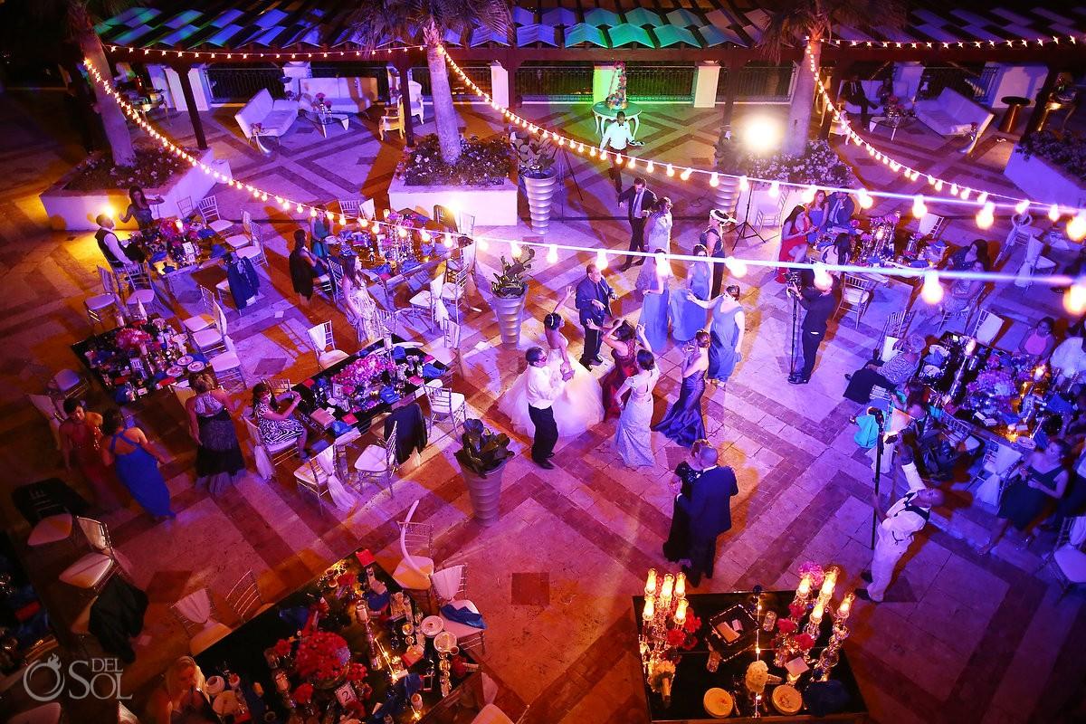 areal photograph bride dancing wearing Dennis Basso dress Persian, wedding reception, Sanctuary Cap Cana Resort, Dominican Republic