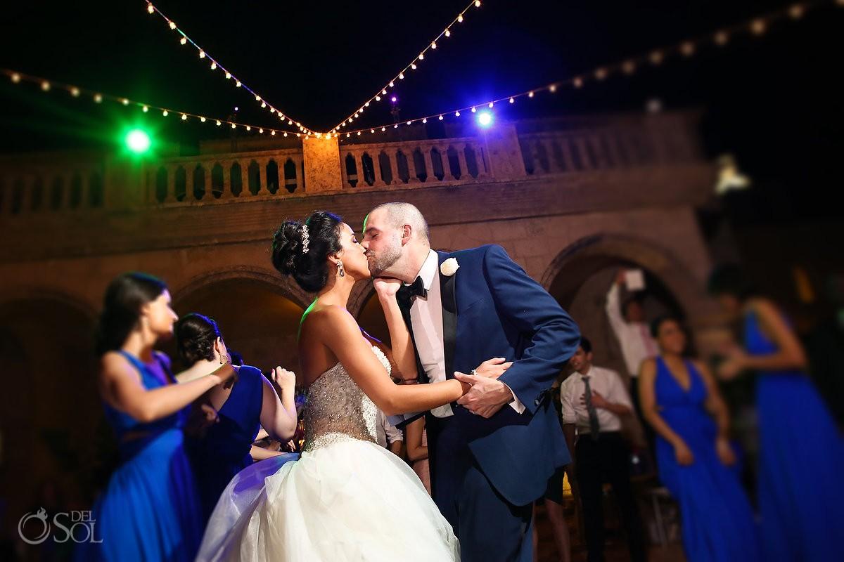 bride groom kiss, wedding reception, Sanctuary Cap Cana Resort, Dominican Republic
