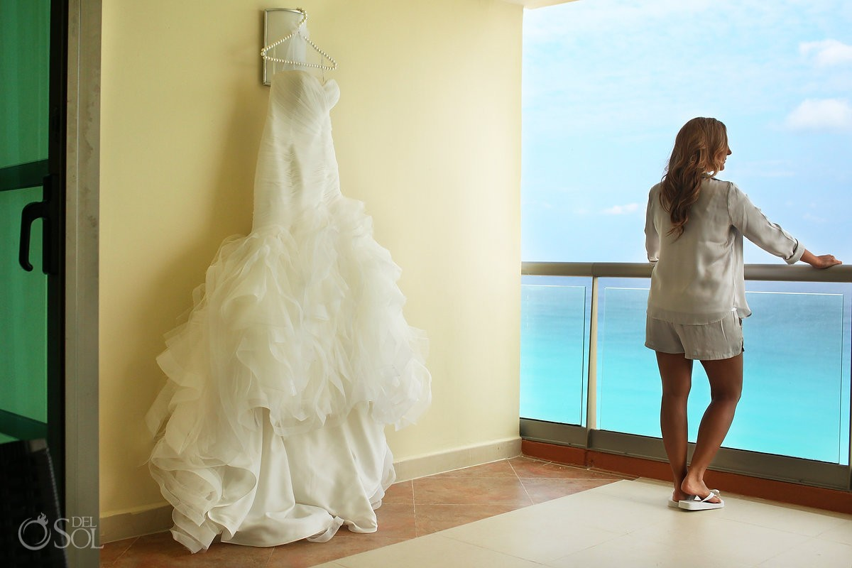 bride with Gown by Pronovias at Beach Palace, Cancun, Mexico