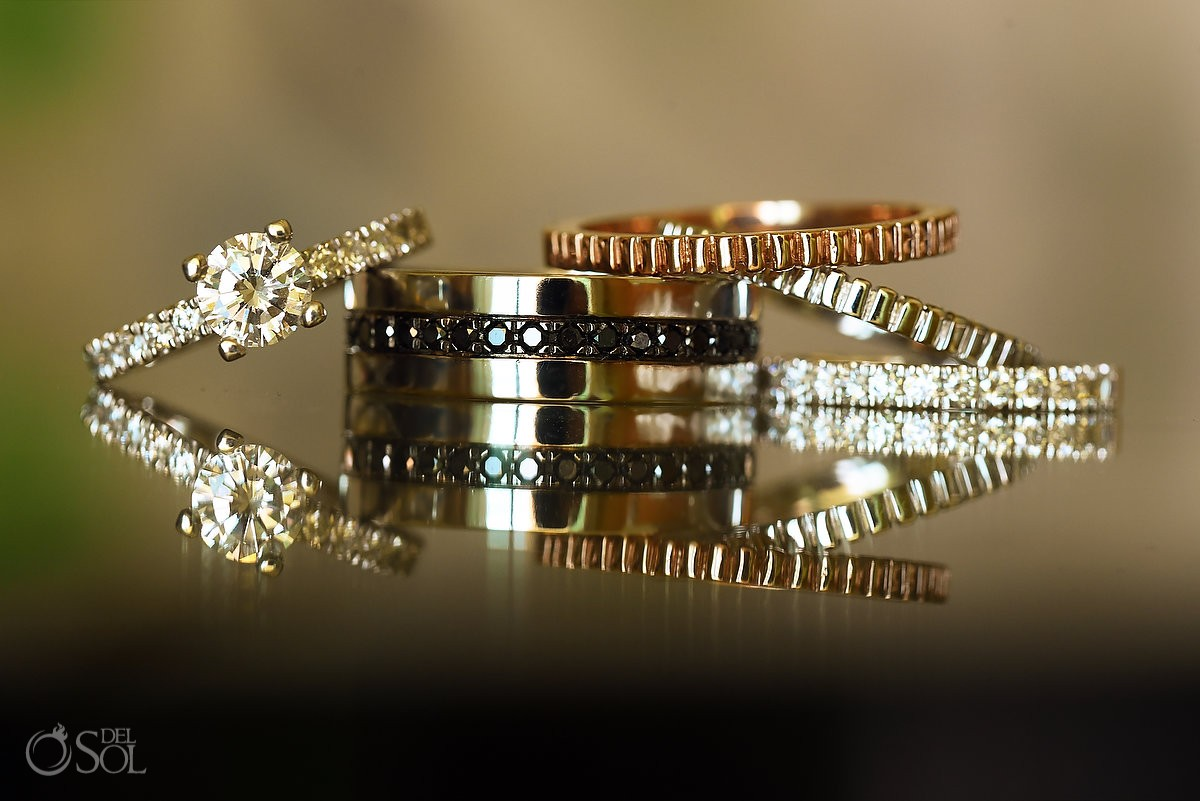 wedding ring princess cut diamond at Beach Palace, Cancun, Mexico