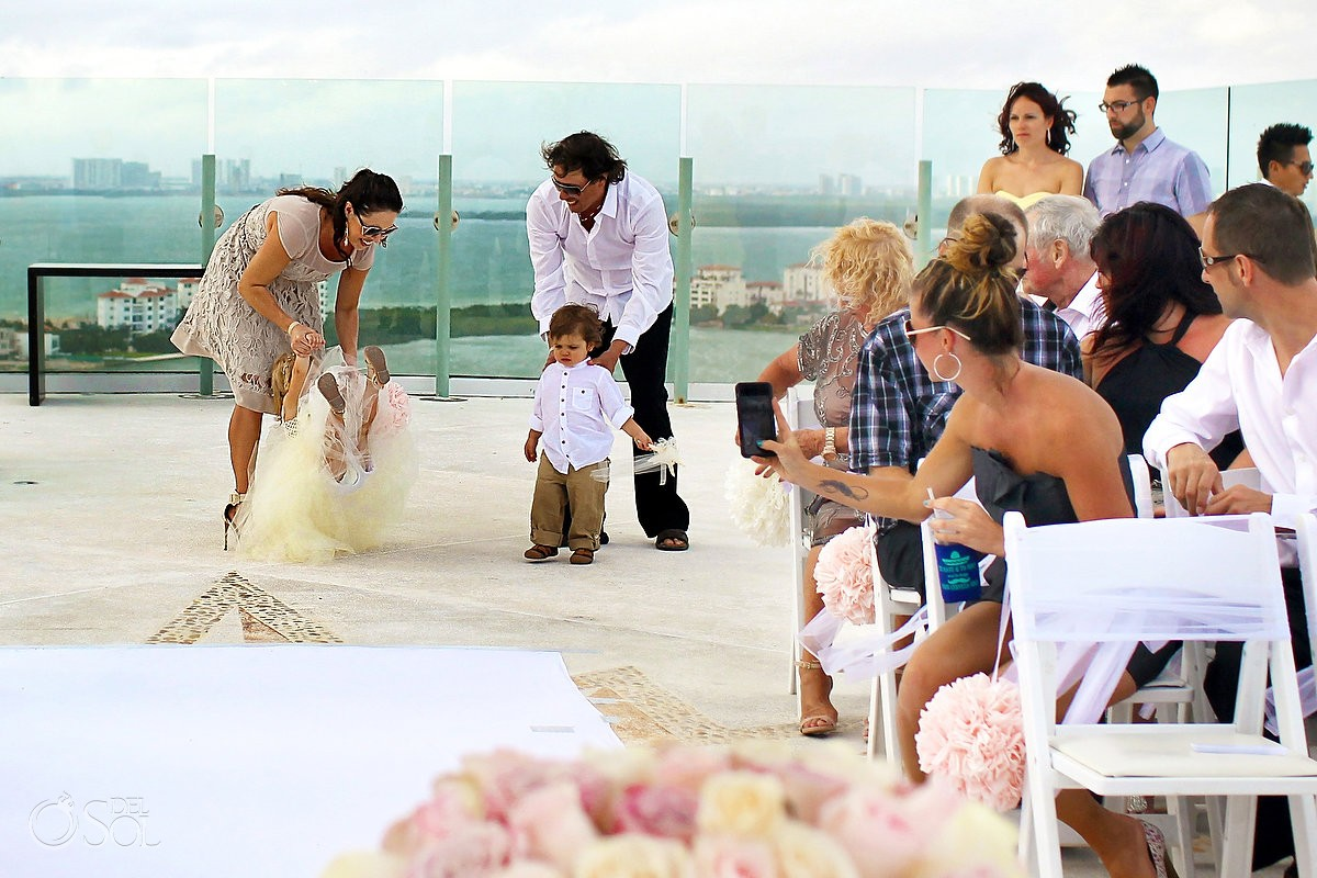 ring bearer and flower girl wedding processional at Beach Palace, Cancun