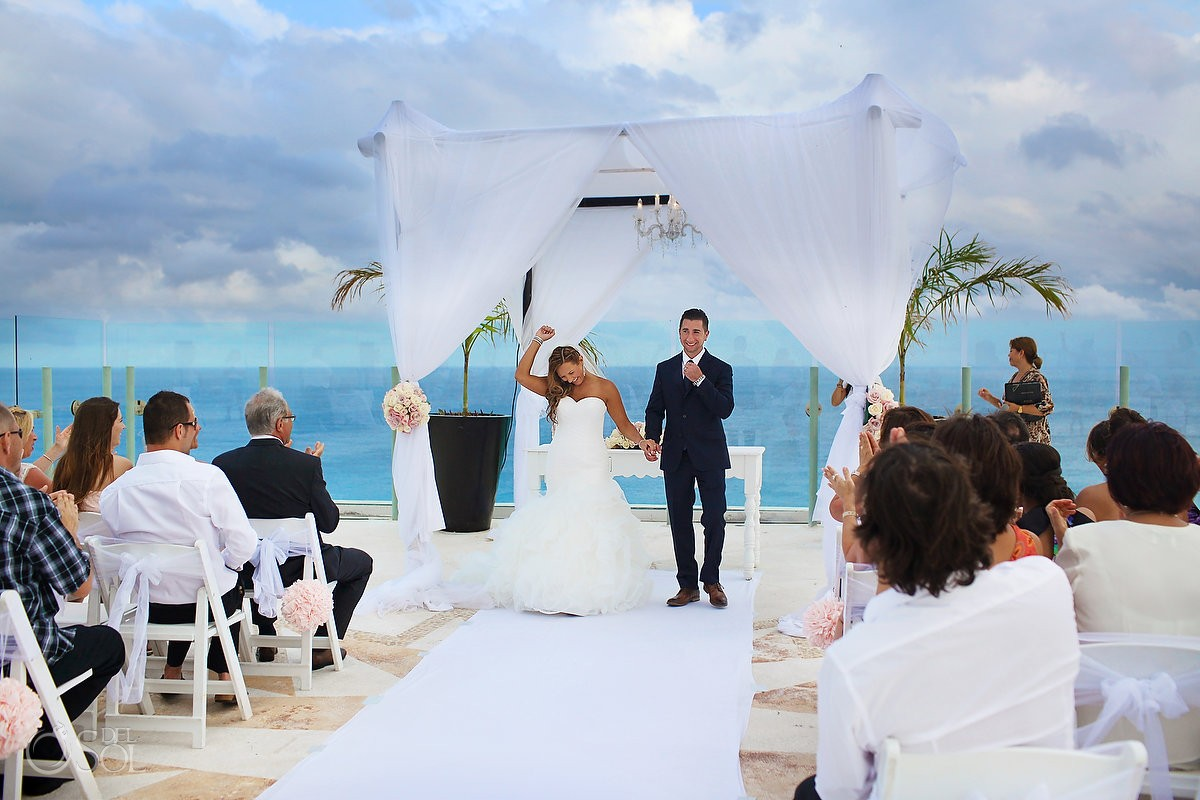 destination wedding recessional at Beach Palace, Cancun, Mexico