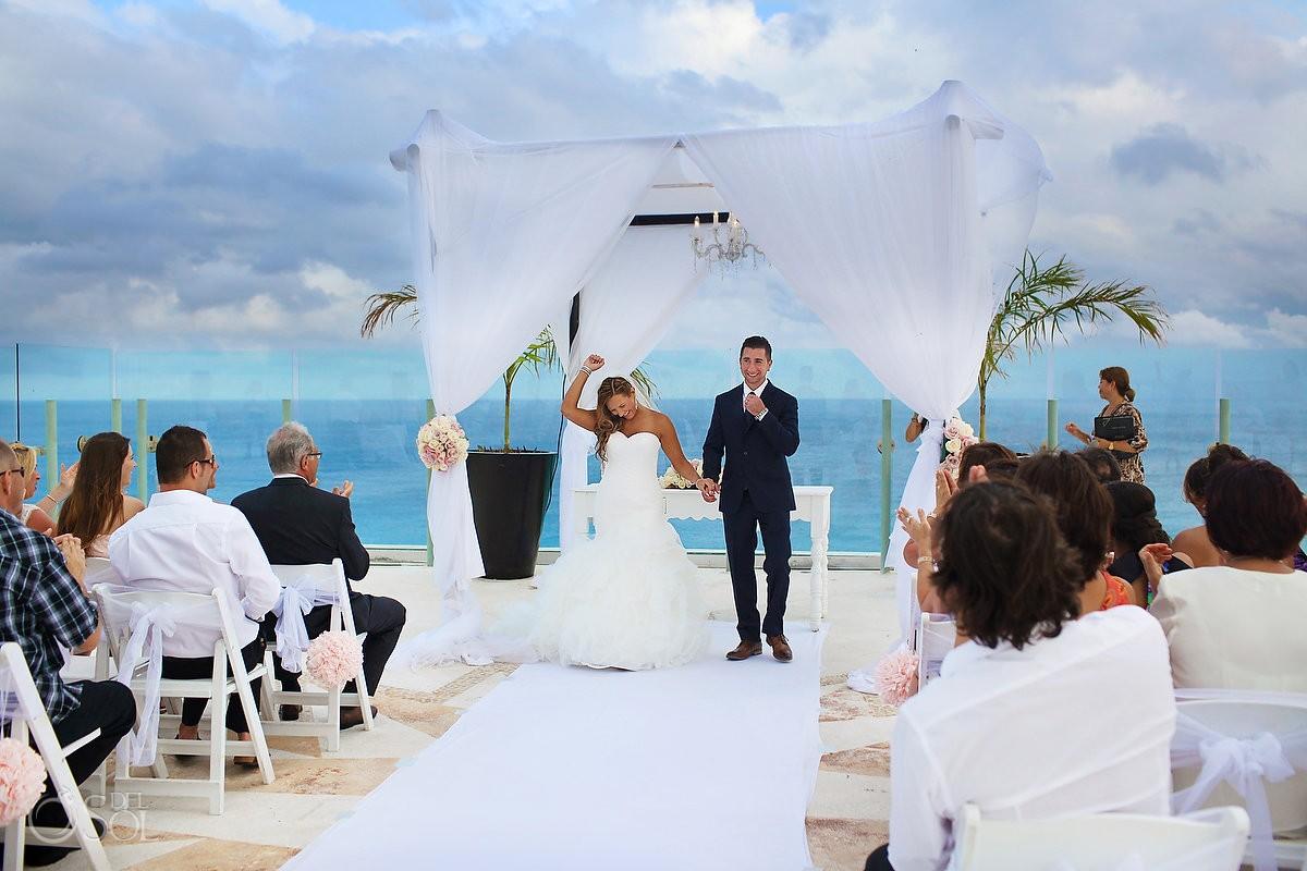 destination wedding recessional at Beach Palace, Cancun, Mexico