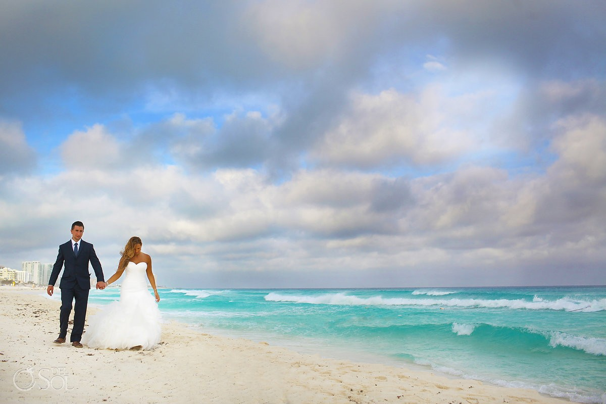 beach portrait with bride and groom at Beach Palace, Cancun