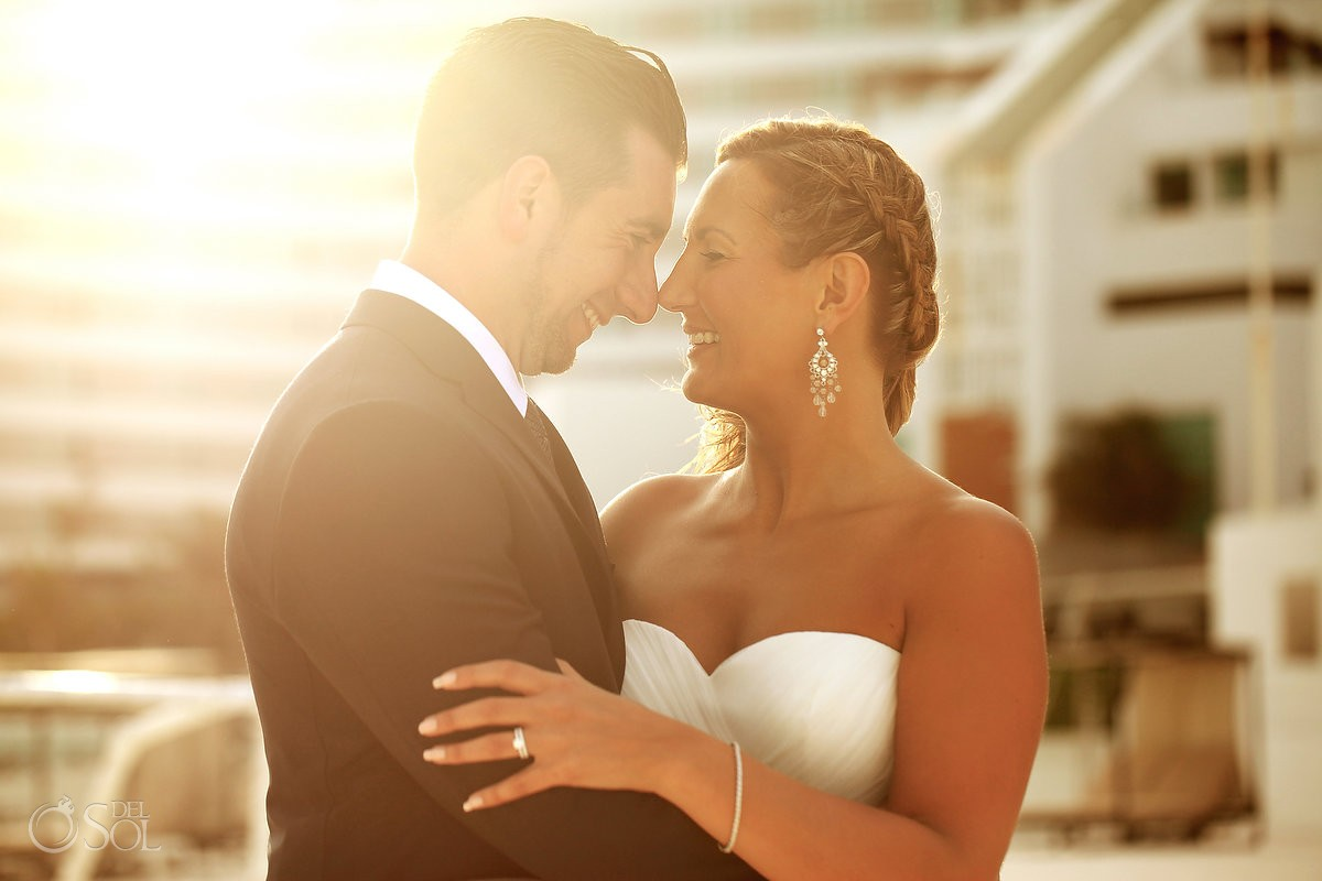 bride and groom portrait at beach palace hotel cancun