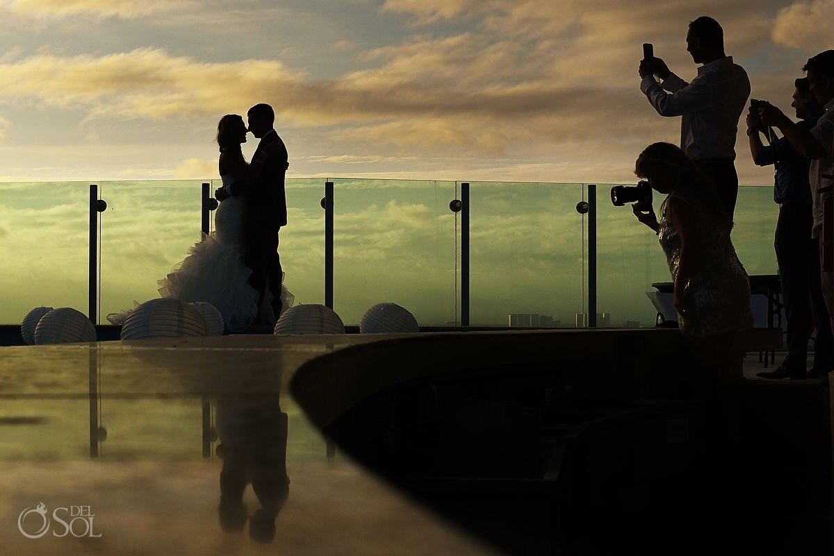 bride and groom portrait on sky deck at wedding beach palace