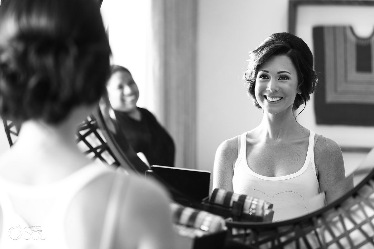 Bride getting ready smiling mirror black white, Wedding Secrets Akumal, Riviera Maya, Mexico