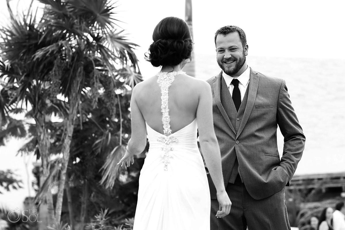 first look groom's face smile black white, Wedding Secrets Akumal, Riviera Maya, Mexico