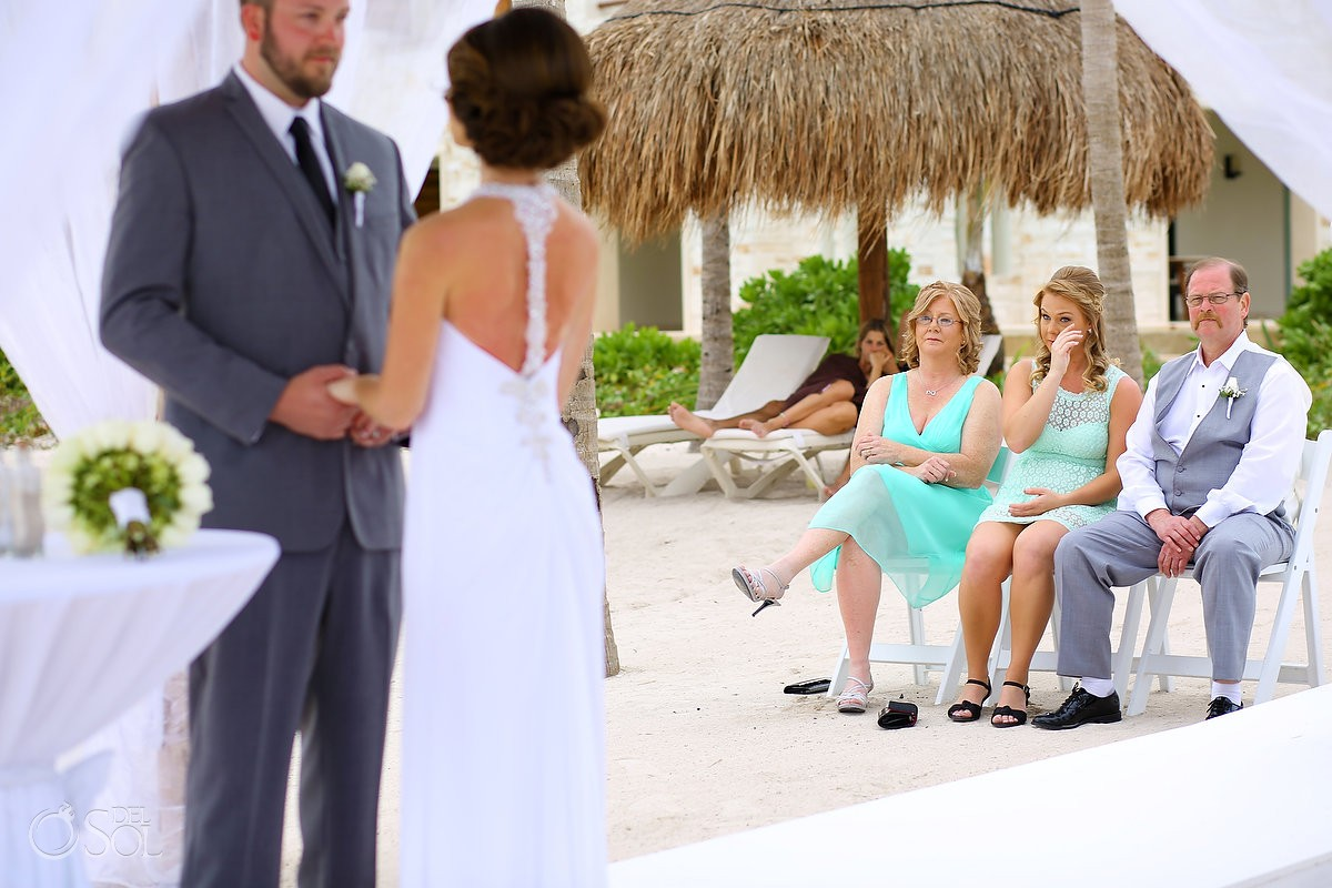 guest crying beach Wedding at Secrets Akumal, Riviera Maya, Mexico