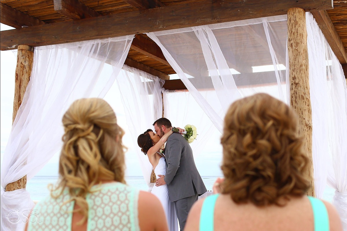 first kiss beach Wedding at Secrets Akumal, Riviera Maya, Mexico