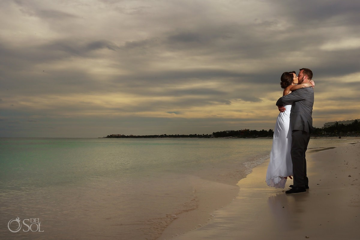 Sunset wedding portrait beach Wedding at Secrets Akumal, Riviera Maya, Mexico