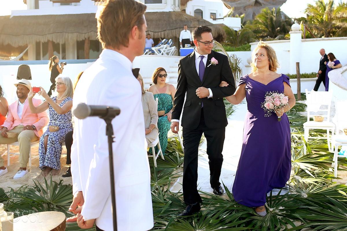 processional fun look between bridesmaid and groomsman, Beach Wedding Hacienda Del Secreto, Riviera Maya, Mexico