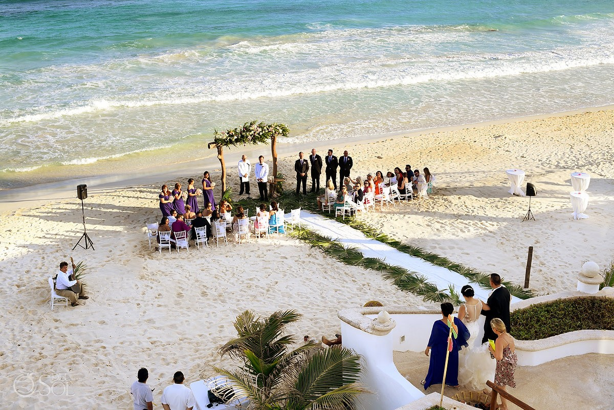 Bride entrance Beach Wedding Hacienda Del Secreto, Riviera Maya, Mexico