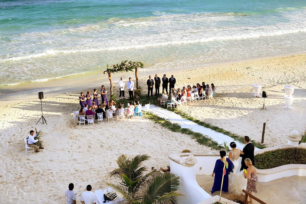 Bride entrance Beach Wedding Hacienda Del Secreto, Riviera Maya, Mexico