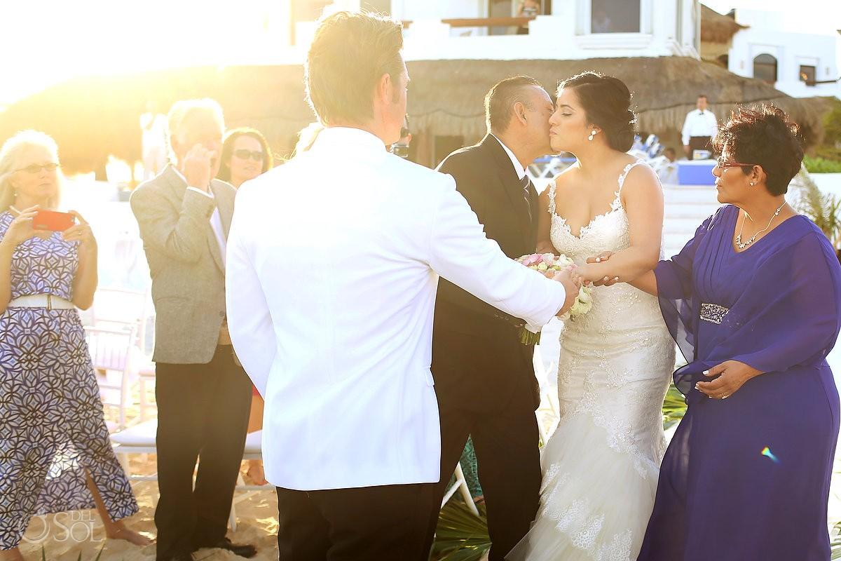 giving bride away, Beach Wedding Hacienda Del Secreto, Riviera Maya, Mexico