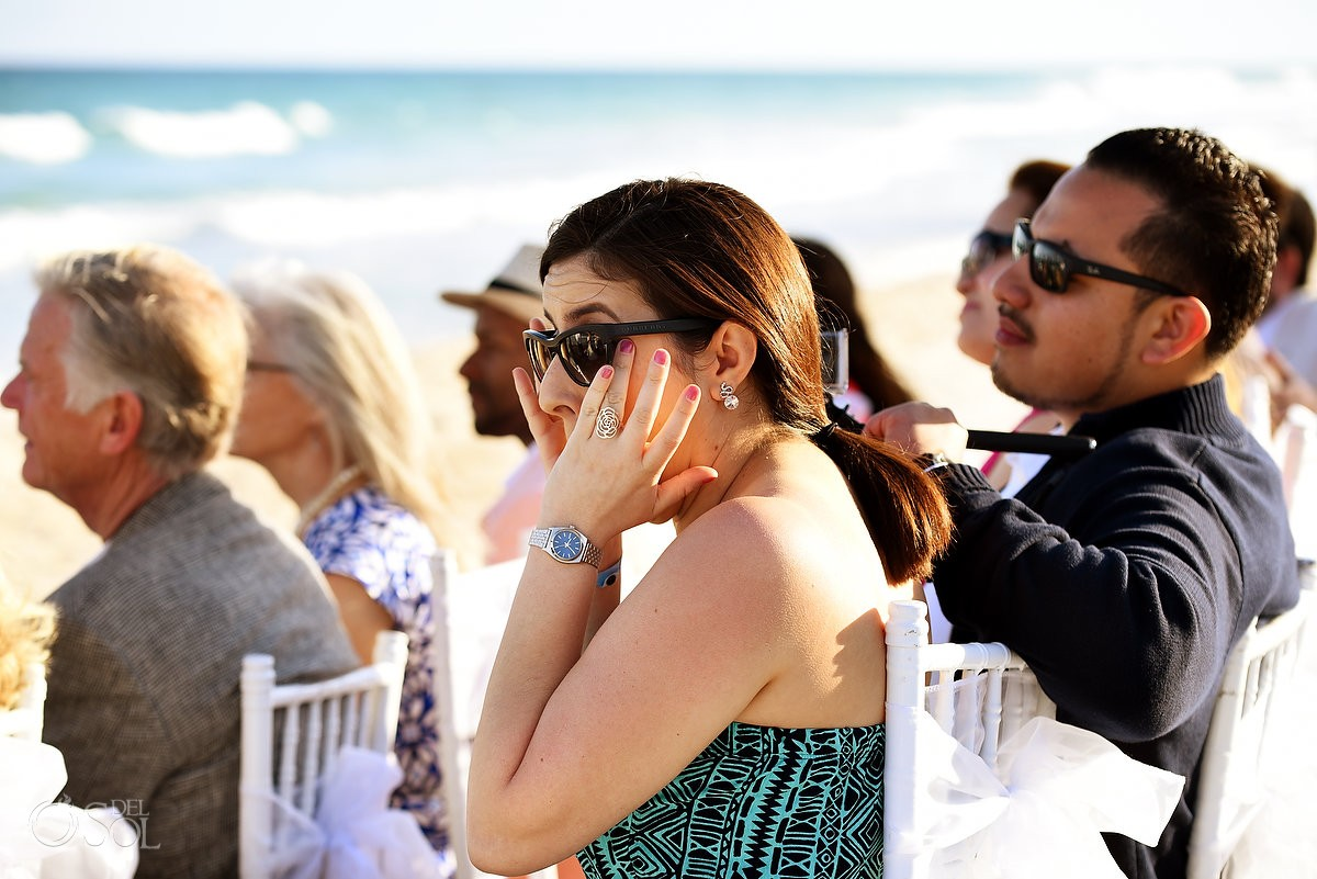wedding guest crying, Beach Wedding Hacienda Del Secreto, Riviera Maya, Mexico