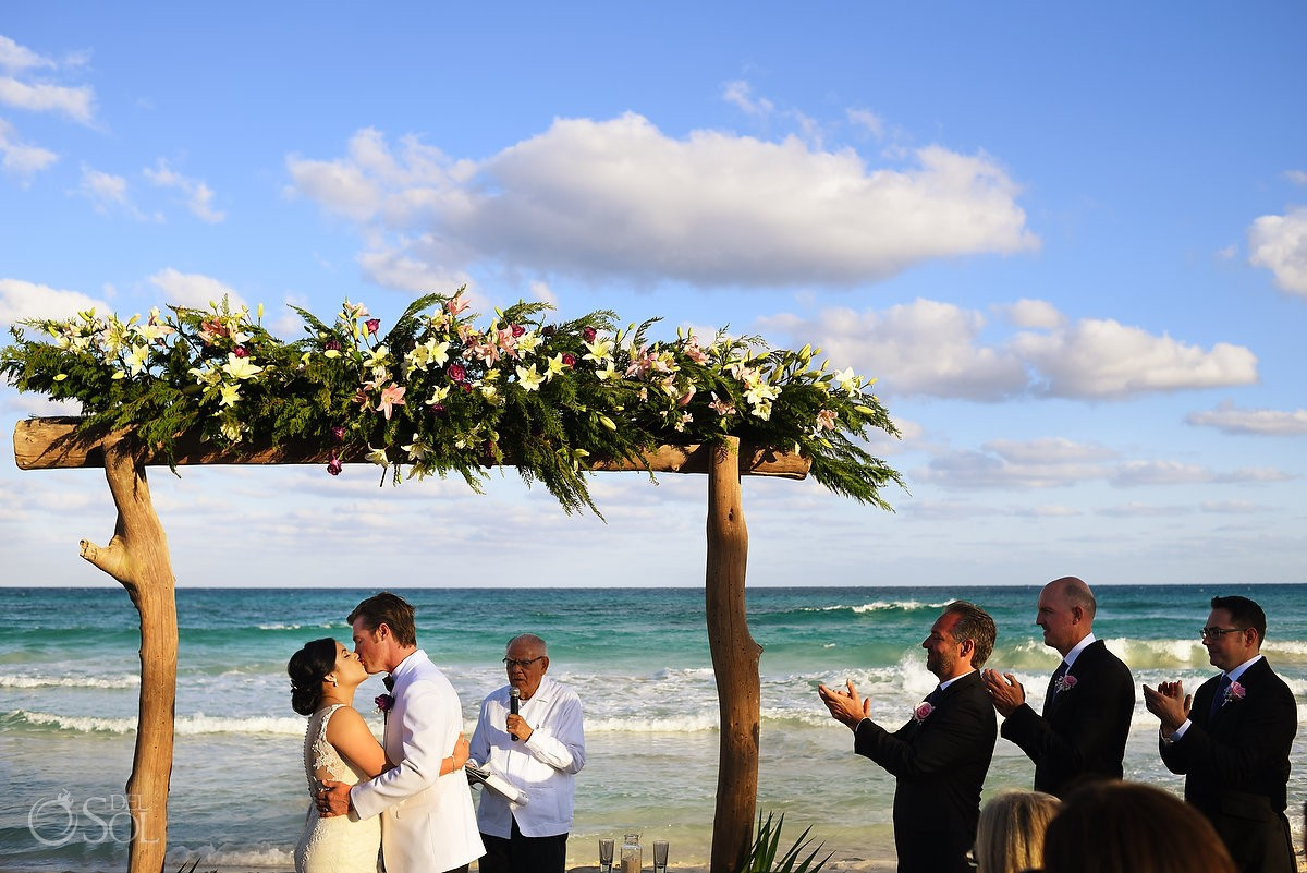 first kiss Beach Wedding Hacienda Del Secreto, Riviera Maya, Mexico