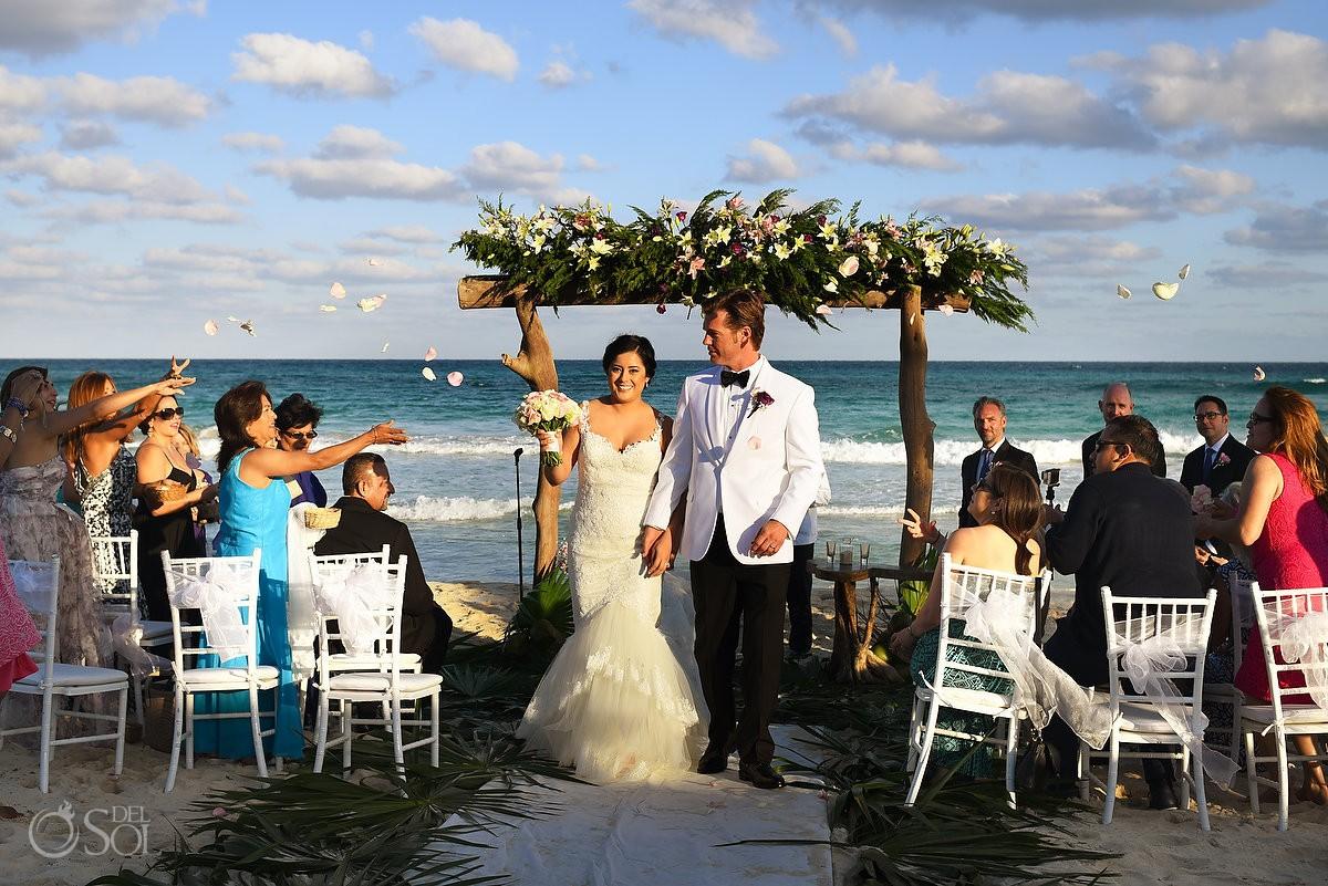ceremony exit Beach Wedding Hacienda Del Secreto, Riviera Maya, Mexico