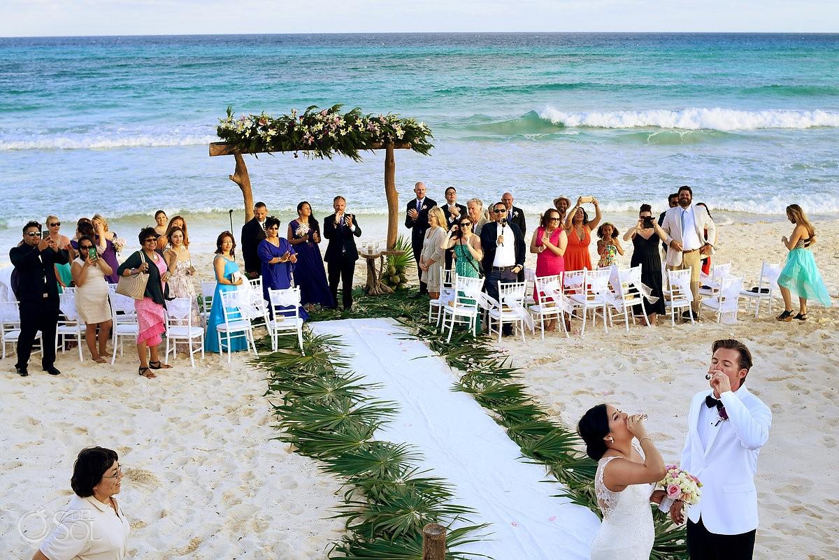 ceremony exit bride groom tequila shots Beach Wedding Hacienda Del Secreto, Riviera Maya, Mexico