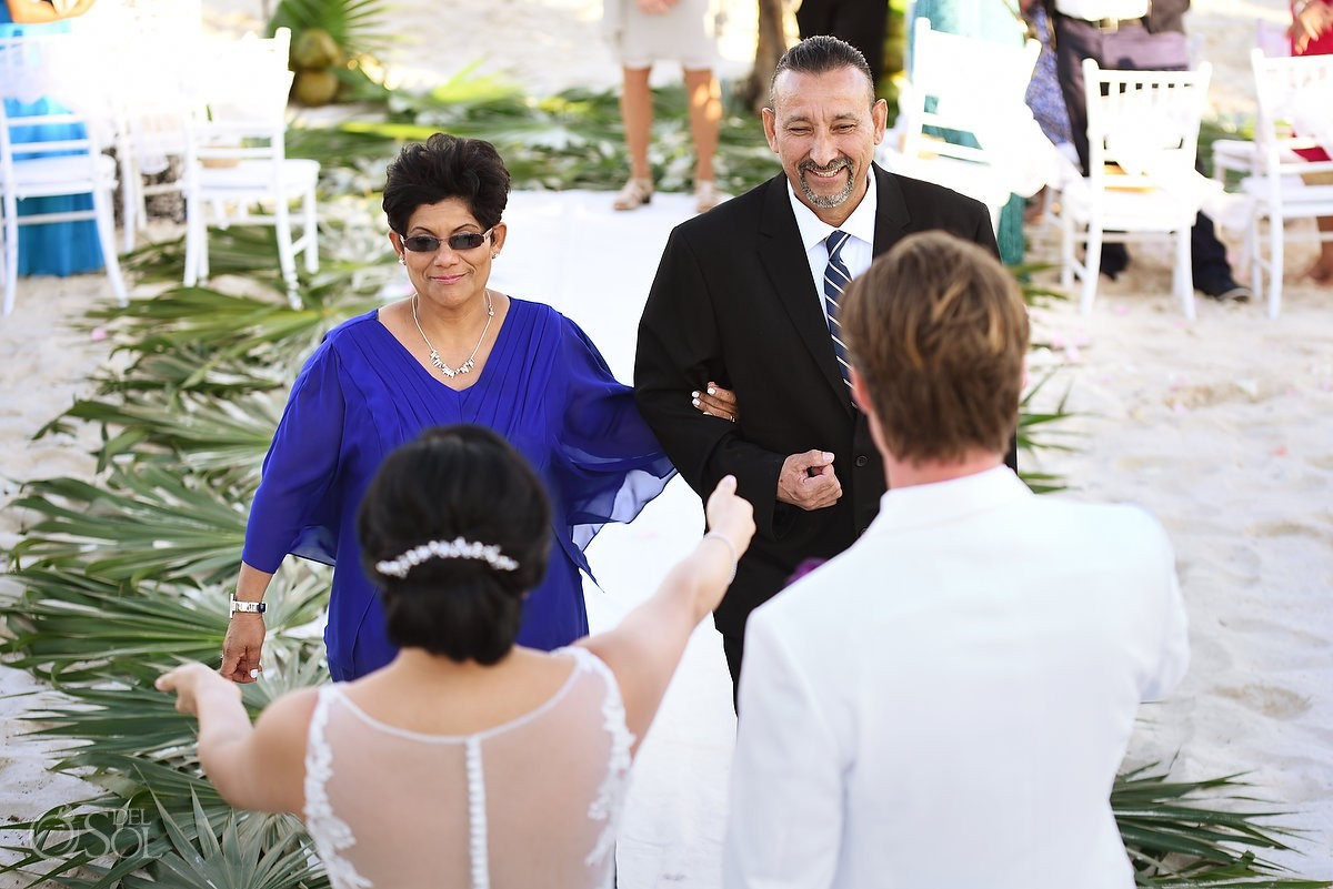 bride mom dad hugs, Beach Wedding Hacienda Del Secreto, Riviera Maya, Mexico