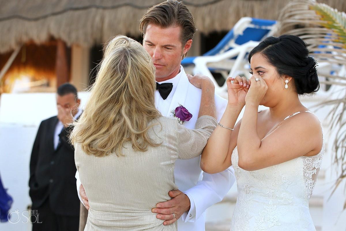 mother groom emotional hug, Beach Wedding Hacienda Del Secreto, Riviera Maya, Mexico