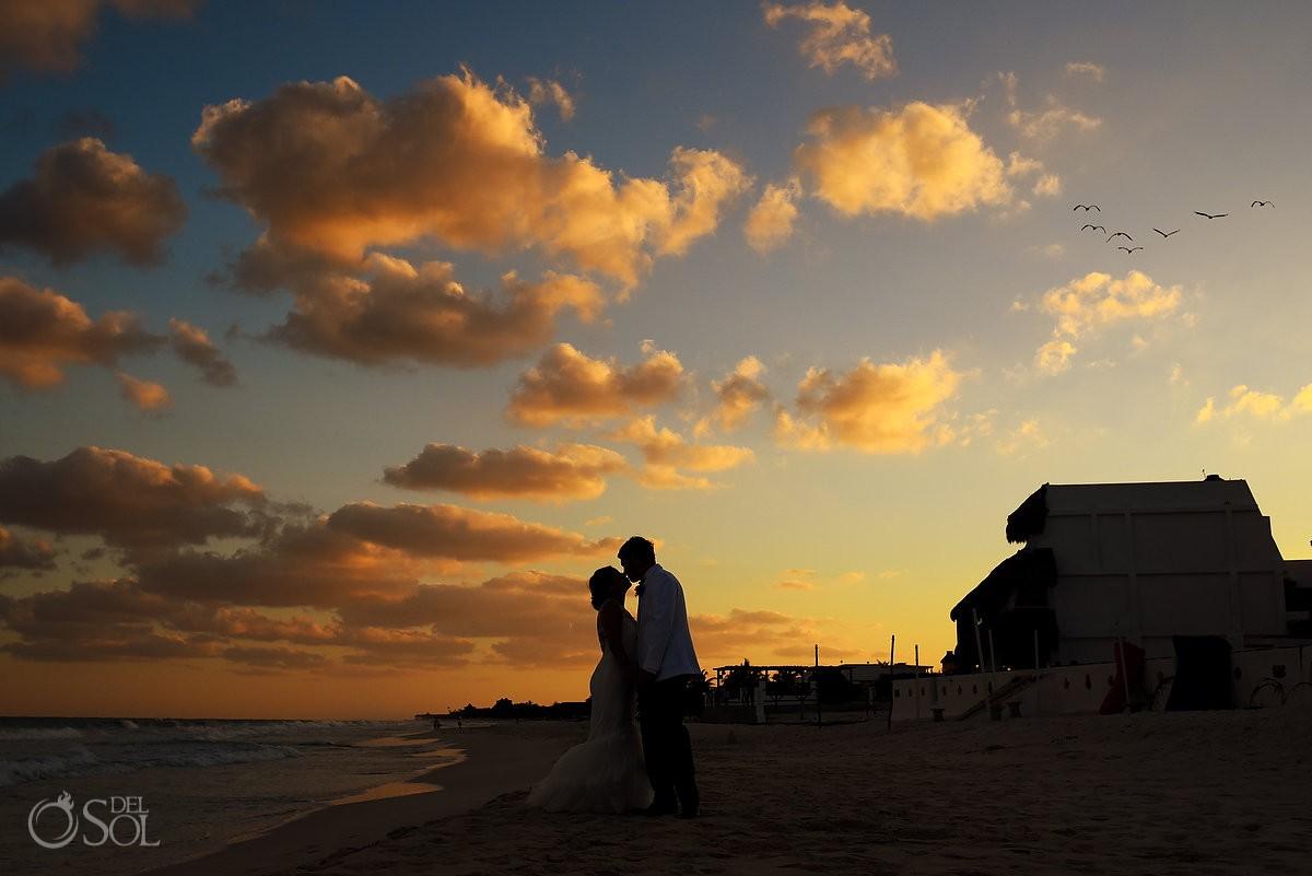 wedding portrait silhouette pelican birds flying, Beach Wedding Hacienda Del Secreto, Riviera Maya, Mexico