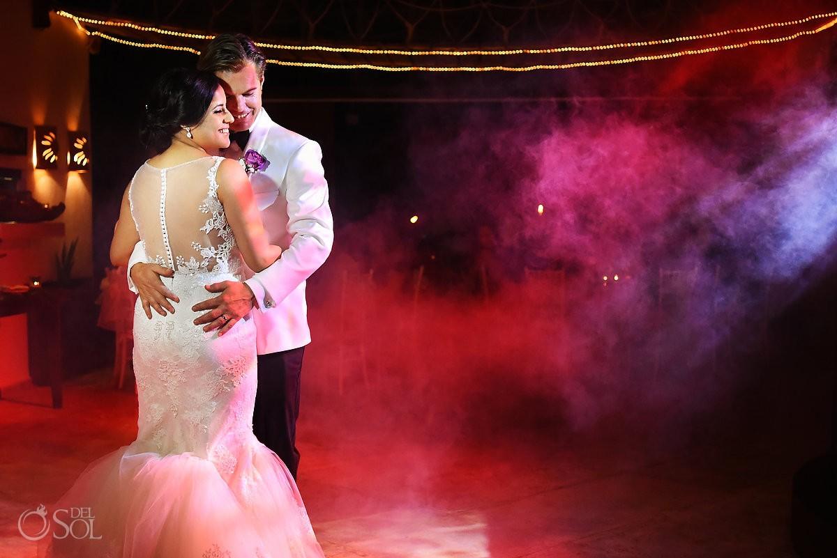 first dance, palapa jack, Beach Wedding reception Hacienda Del Secreto, Riviera Maya, Mexico